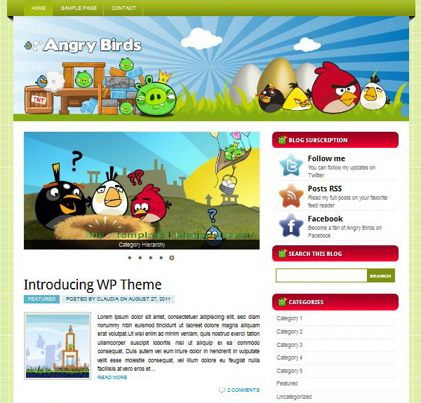 Angry Birds WordPress Theme