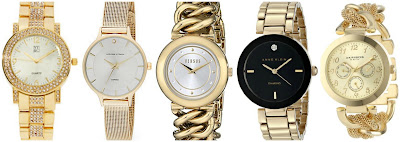 New York & Co Pave Metallic Links Watch $23.06 (regular $32.95)  Adrienne Vittadini Pave Diamond Goldtone Mesh Watch $47.49 (regular $94.99)  Versus by Versace Brickell Watch with Braid Link Bracelet $51.87 (regular $295.00) also in black  Anne Klein Diamond Accented Black Dial Gold-Tone Bracelet Watch $56.25 (regular $75.00)  Akribos XXIV Multi Function Mesh Link Bracelet Watch $62.76 (regular $445.00)