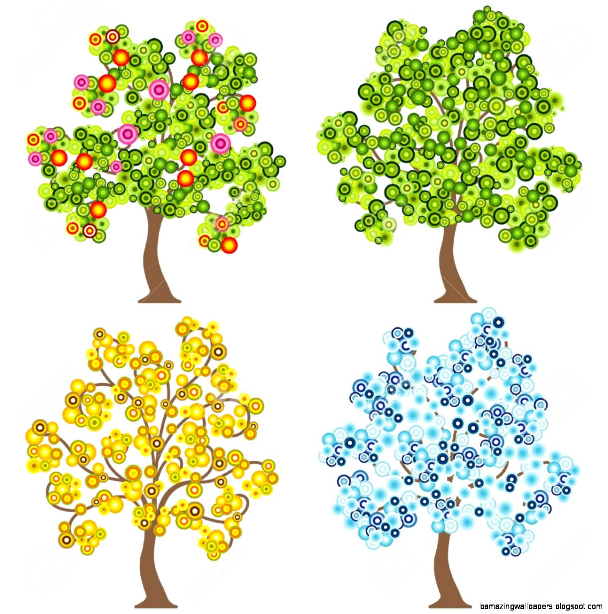 4 Trees Clipart