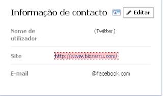 Informação Contacto Facebook