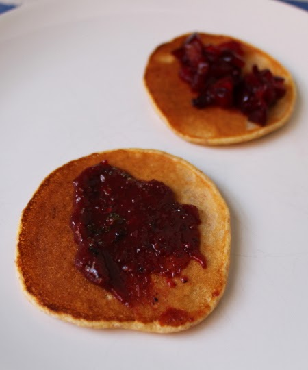 Cornmeal pancakes with fresh cherry plums