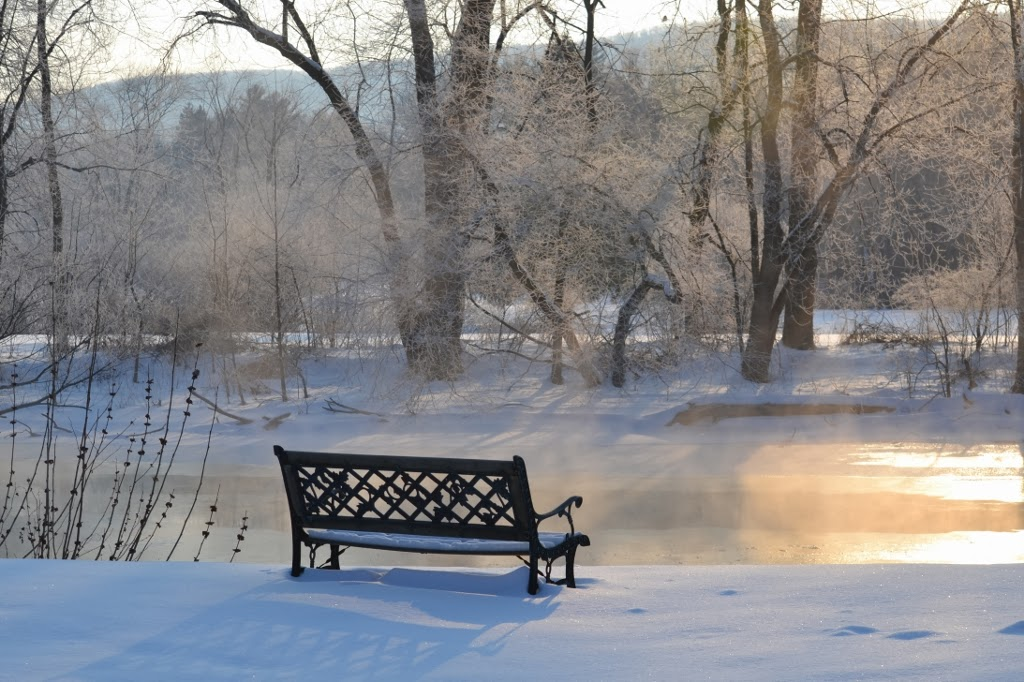 morning by the river with beautiful hoar frost