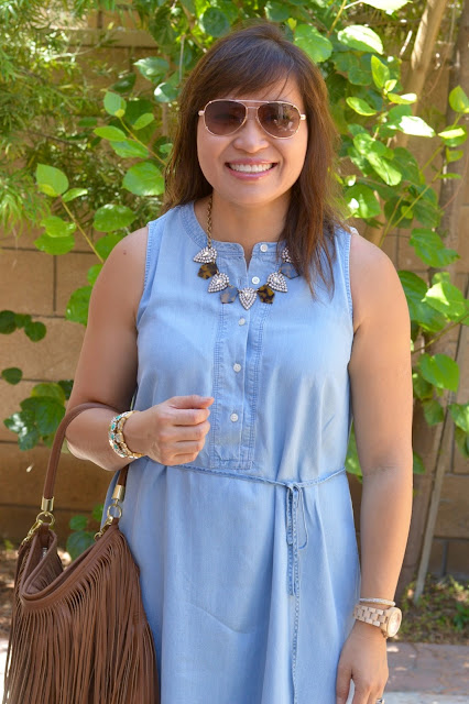 Weekend Style, Loft Chambray dress, Over 40 Fashion
