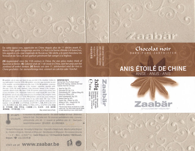 tablette de chocolat noir gourmand zaabär noir anis etoilé de chine