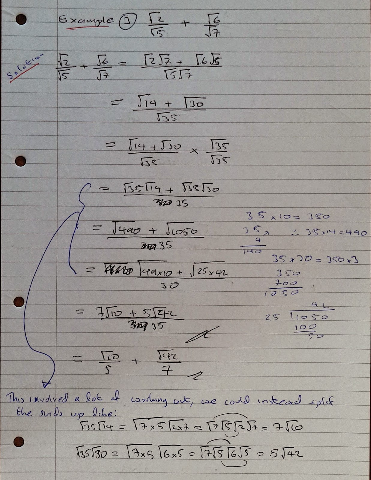 how to turn fractions to surds