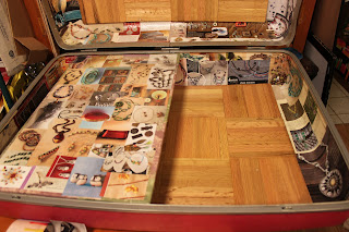 Recycled crafts:  worktable for the repurposed suitcase
