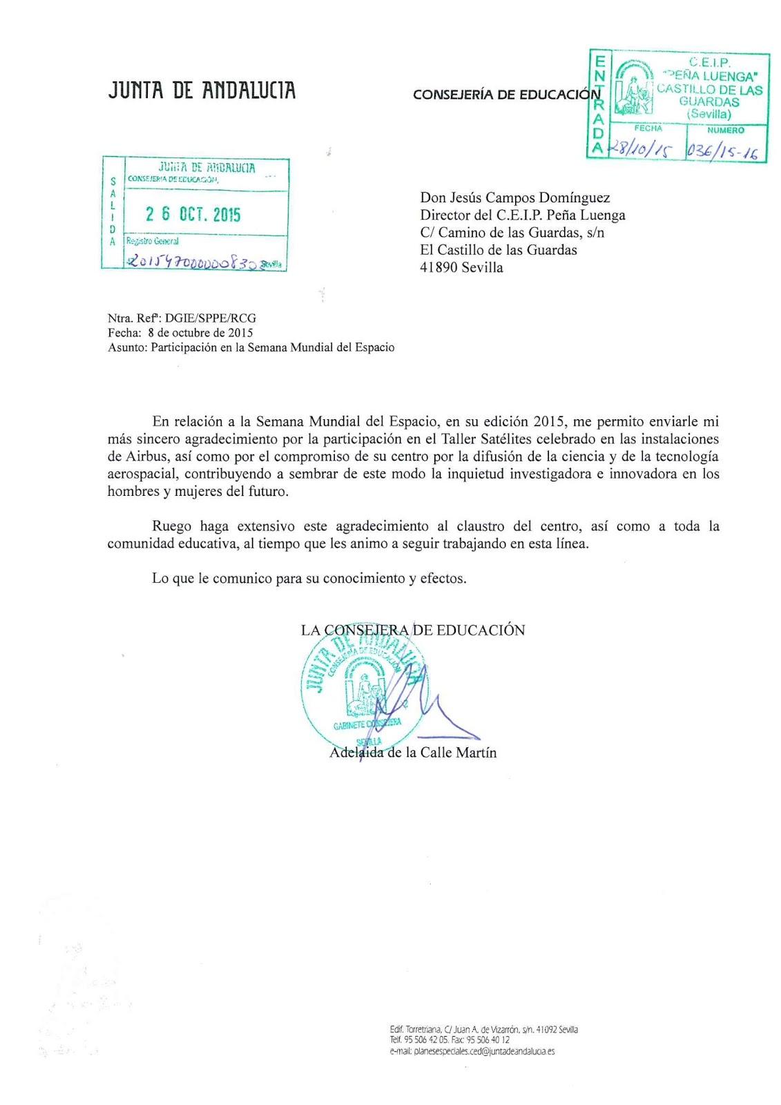 C p pe aluenga do a adelaida de la calle consejera de for Consejeria de educacion junta de andalucia