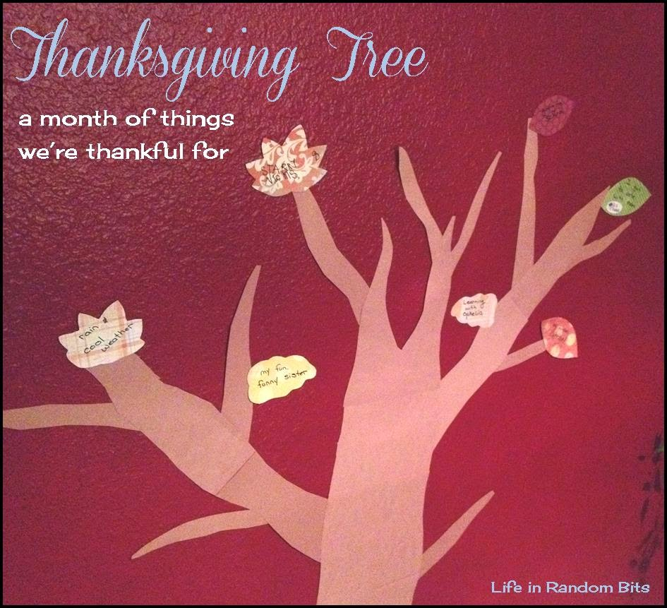 Thanksgiving Tree: a month of things we're thankful for ~ Life in Random Bits #thanksgiving