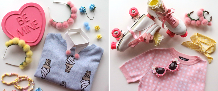 ice cream, gingham, 50's outfits, collar pins, pompom, pom-pom headbands, lemon, pink, roller skates, floral glasses, pom bun crowns