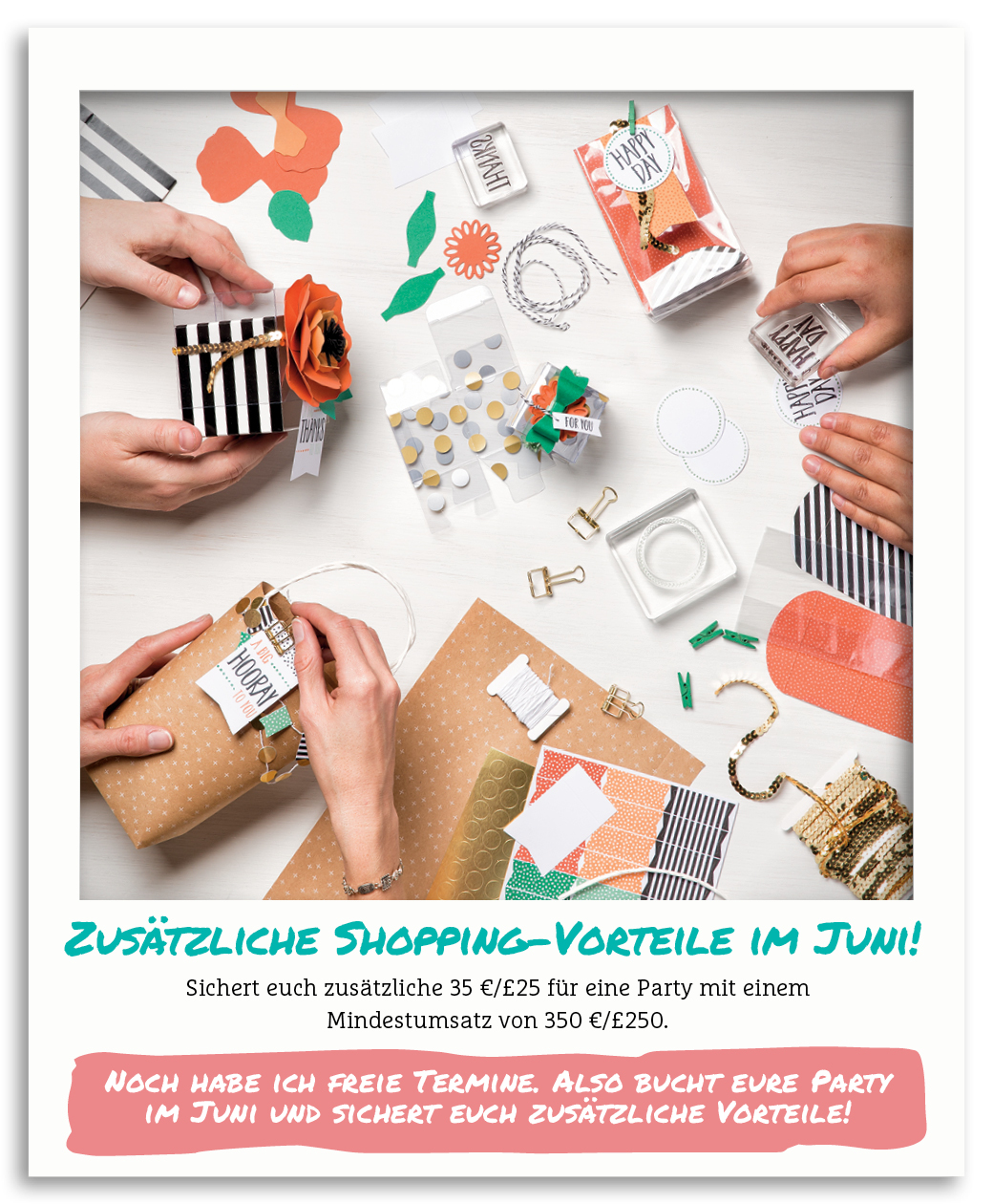 Zusätzliche Shoppingvorteile für Workshops im Juni