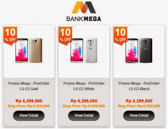 Pre-Order LG G3 di blibli com Rp 6.299.000 (Rp 524.917 x 12) dengan CC Bank Mega