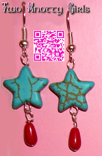 Hand Made Patriotic American Turquoise Star Drop Earrings