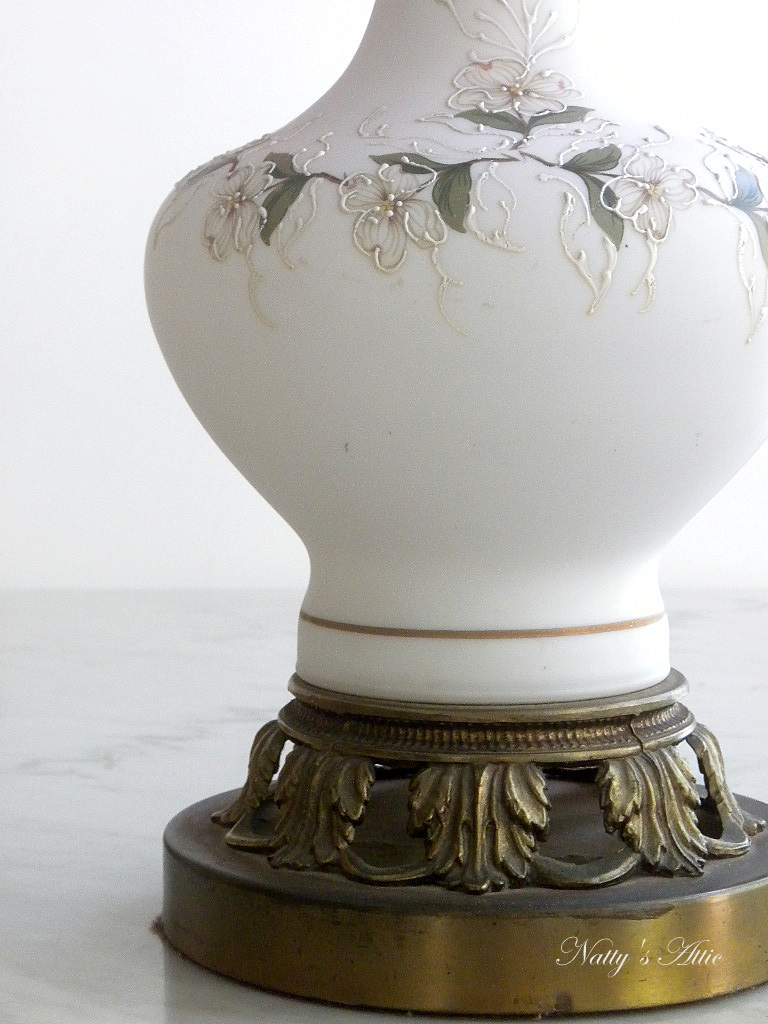 Two Splendid White Ceramic Glass Gourd Shaped Lamps. Front Of The Lamp Has  Hand Painted Flowers Decorated. Base Is Brass With Leaflet Shape. Truly A  Vintage ...