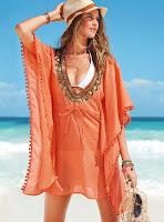 vestido de playa naranja o pareo