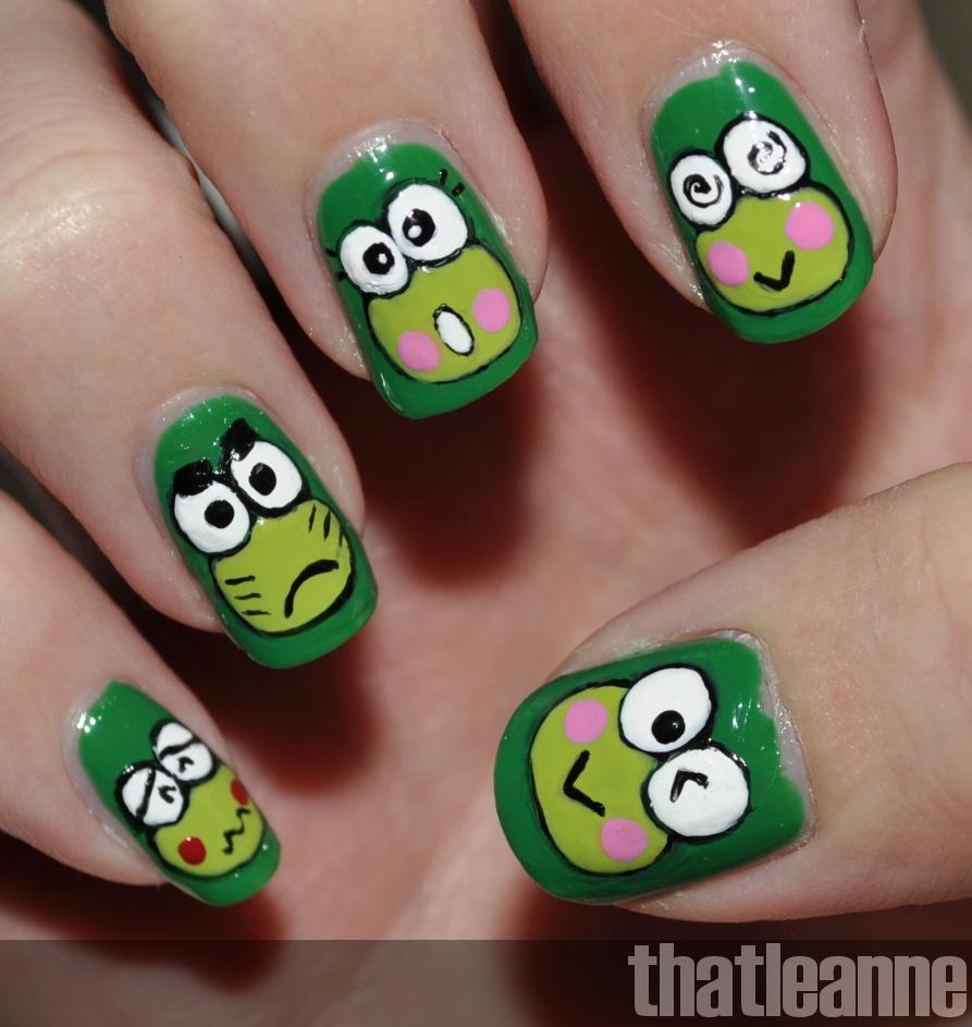 Frog Nail Art: Thatleanne: Keroppi Nail Art