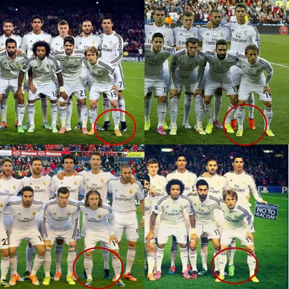 Cristiano Ronaldo snapped on TIPTOES to make himself look taller in Real Madrid team photo