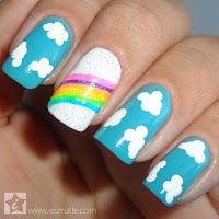 Unhas Decoradas - Arco-Íris com Nuvens