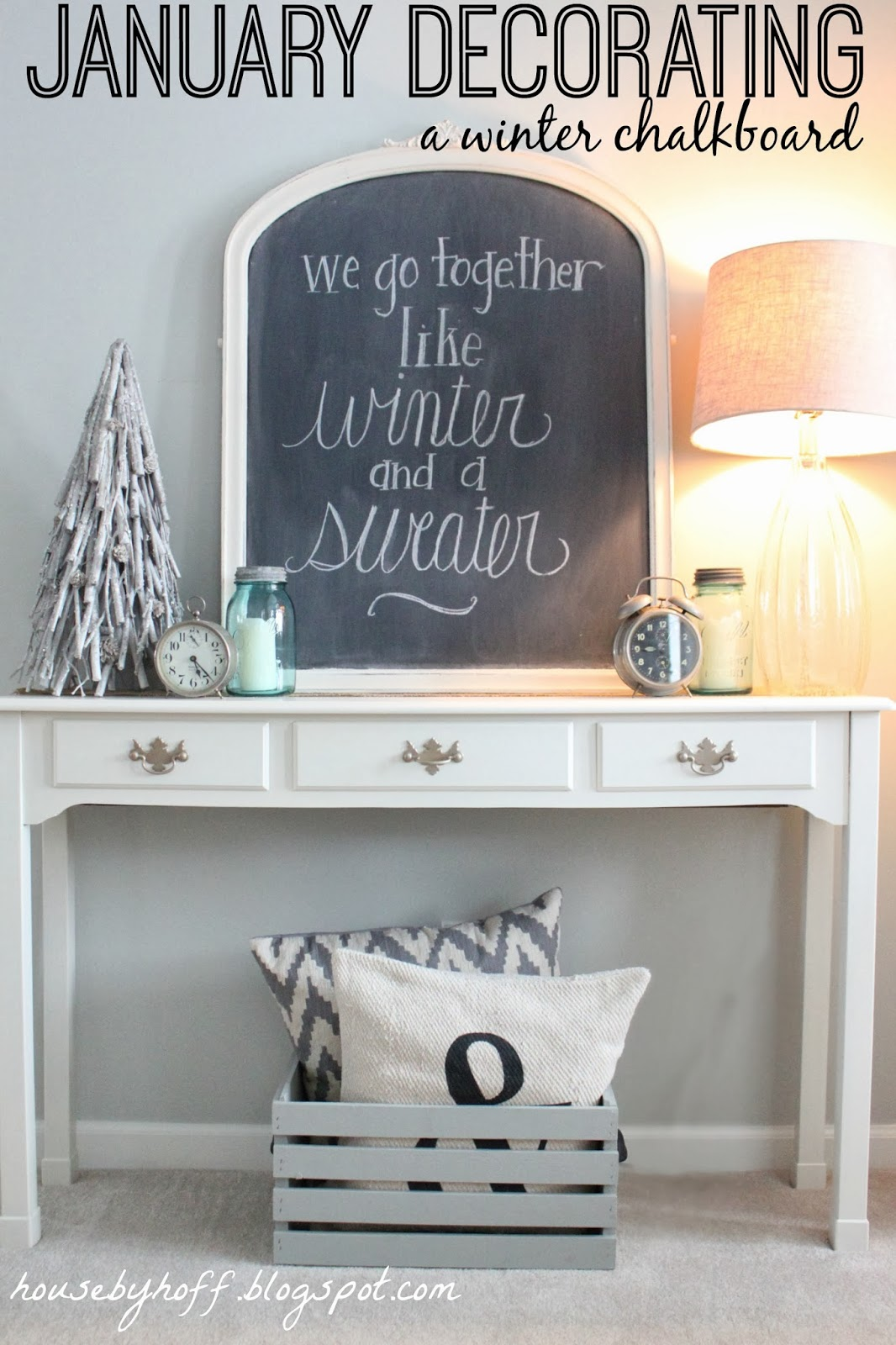 January decorating a winter chalkboard showcasing your