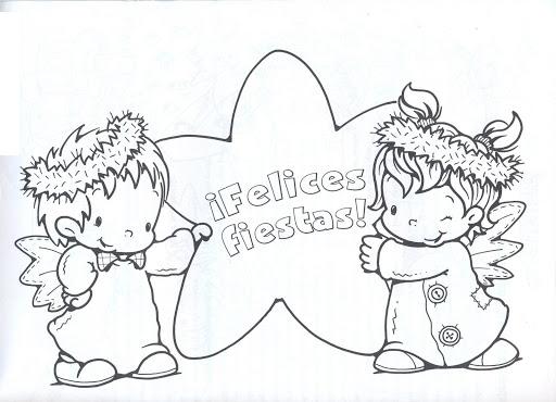 Dibujos de angeles de navidad para ninos