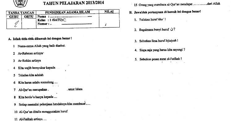 Contoh Soal UTS Pendidikan Agama Islam Kelas 1 Semester 1