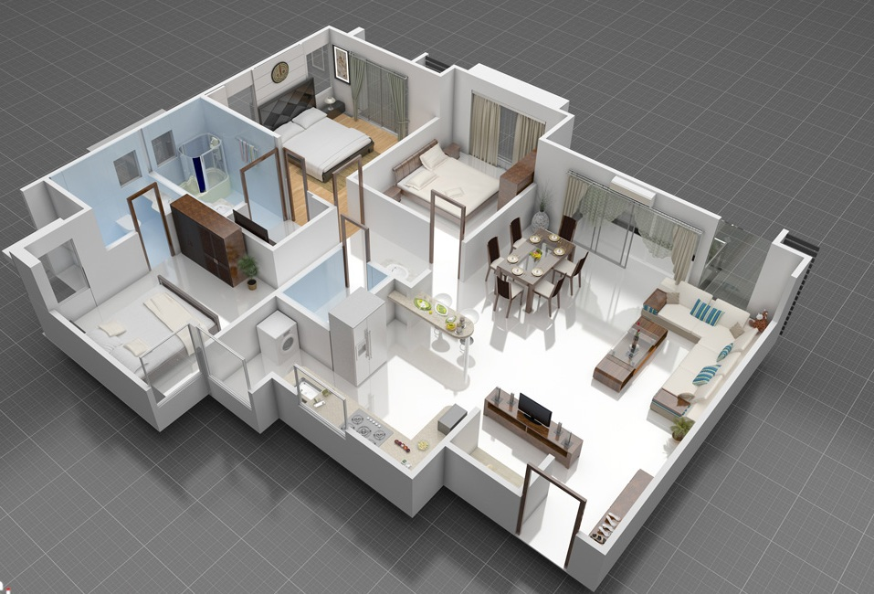 3d front 3d interior of house plan Three d house plans