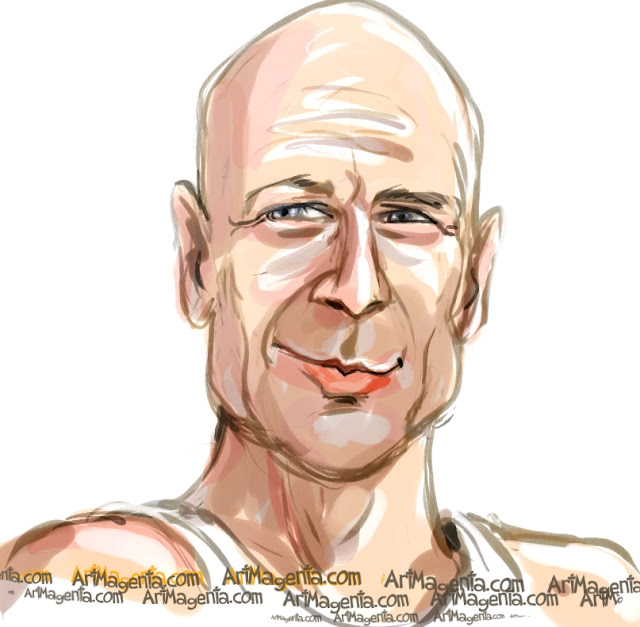 Bruce Willis caricature cartoon. Portrait drawing by caricaturist Artmagenta