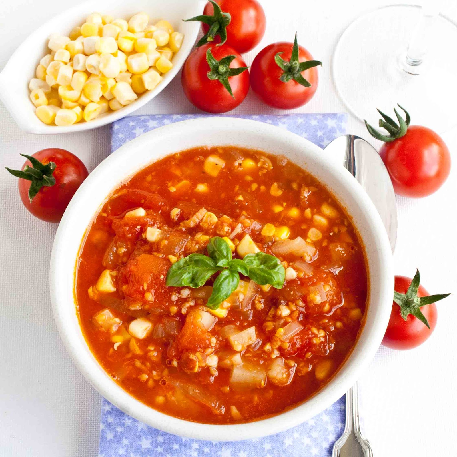 Everyone in my family loves Tomato Corn Chowder.