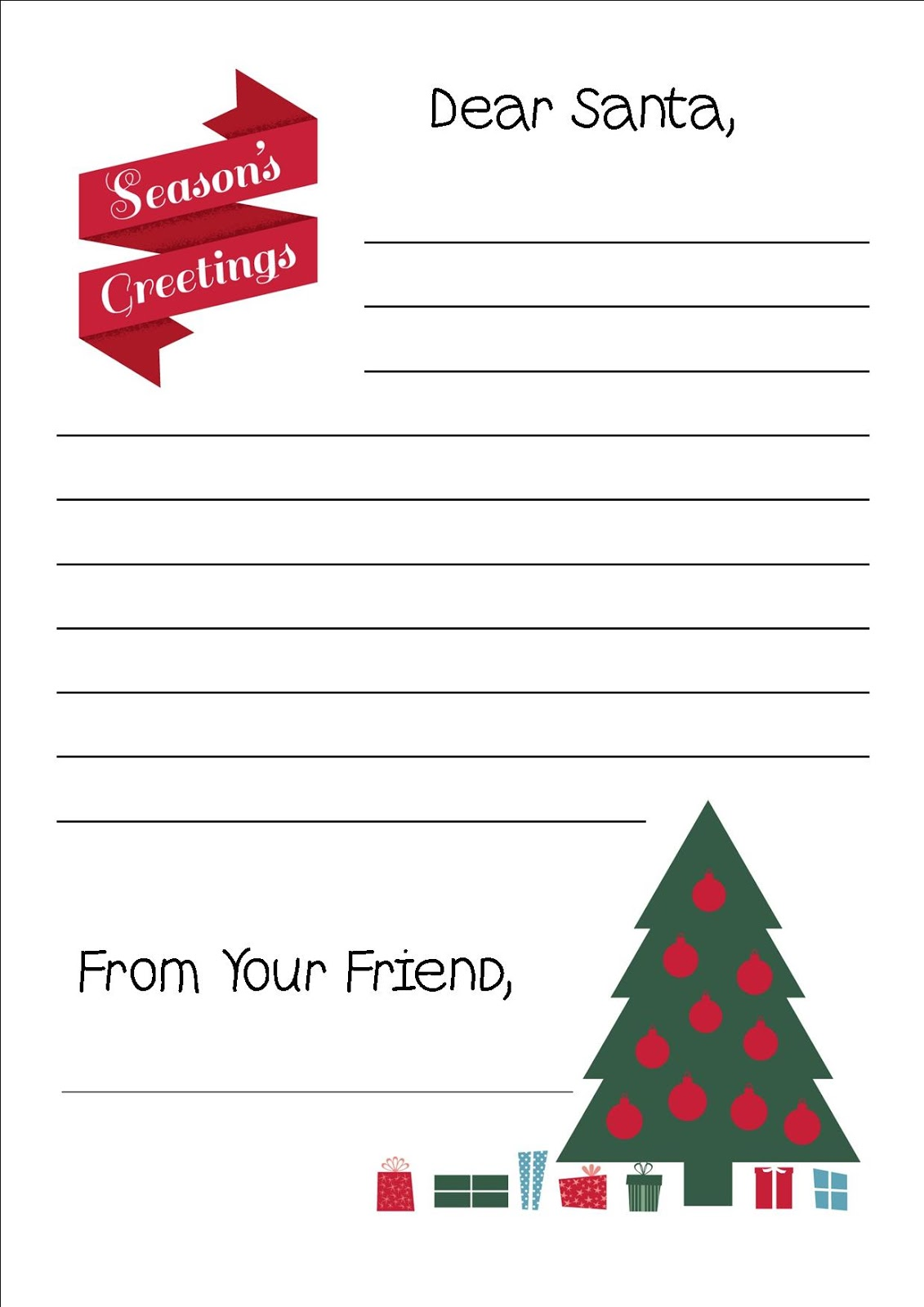 Free printable letter to santa writing paper for those kids that might like something more traditional we have a simple christmas tree all lit up with a few gifts ready to open on christmas morning spiritdancerdesigns