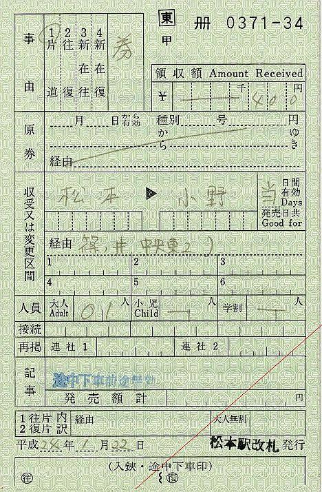 JR東日本 出札補充券3 松本駅改札