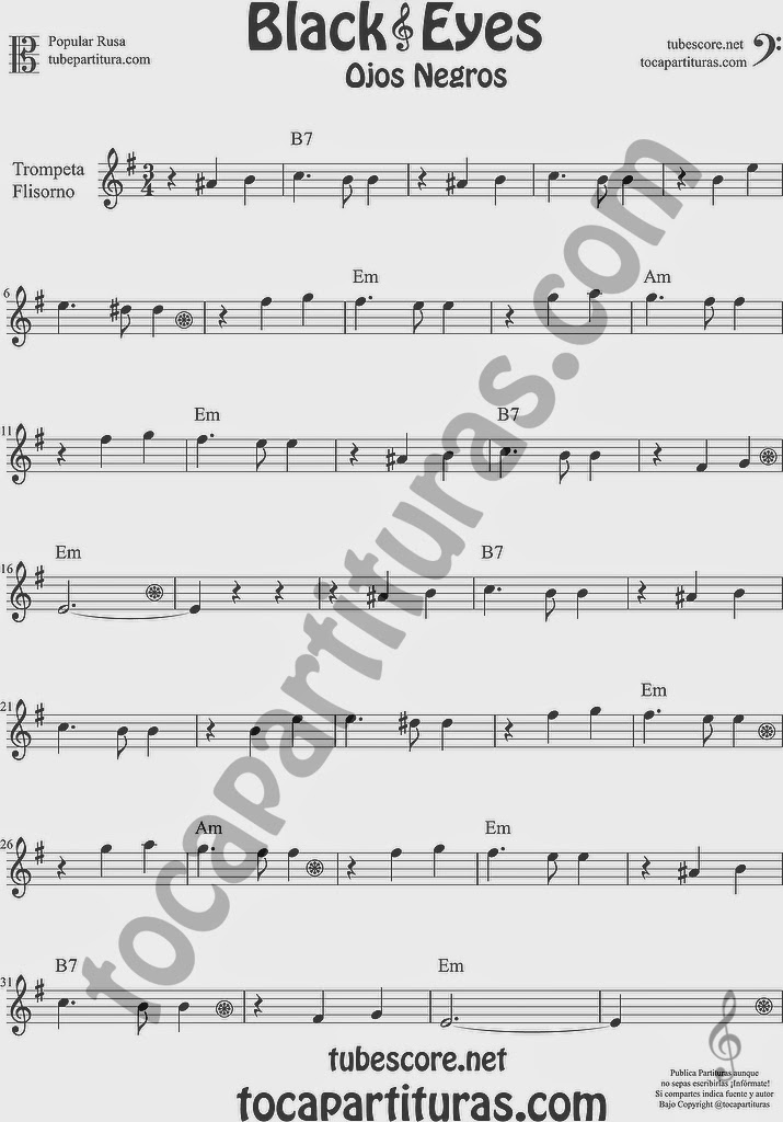 Ojos Negros Partitura de Trompeta y Fliscorno Sheet Music for Trumpet and Flugelhorn Music Scores Black Eyes Popular Rusa
