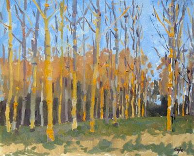 oil painting by adam cope , poplars trees, dusk