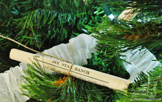rolled book pages on vintage style Christmas tree - KnickofTime.net