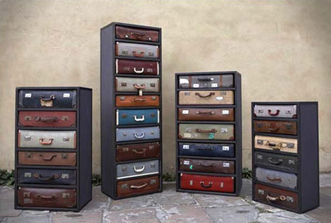 These drawers made to look like vintage suitcases are classic and unique.