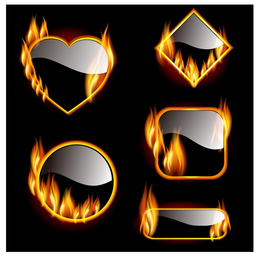 炎が燃え盛るフレーム shiny fire burning frame イラスト素材