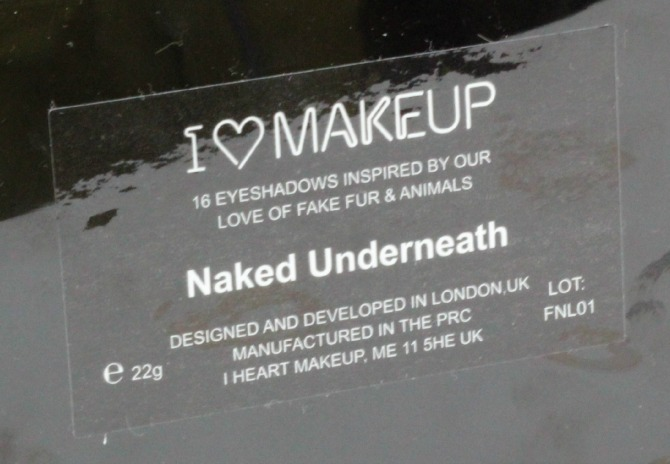 Makeup Revolution I ♥ Makeup | Naked Underneath back of the palette