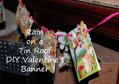 DIY Valentine Banner {rainonatinroof.com} #valentine #banner #sweetheart #DIY #craft