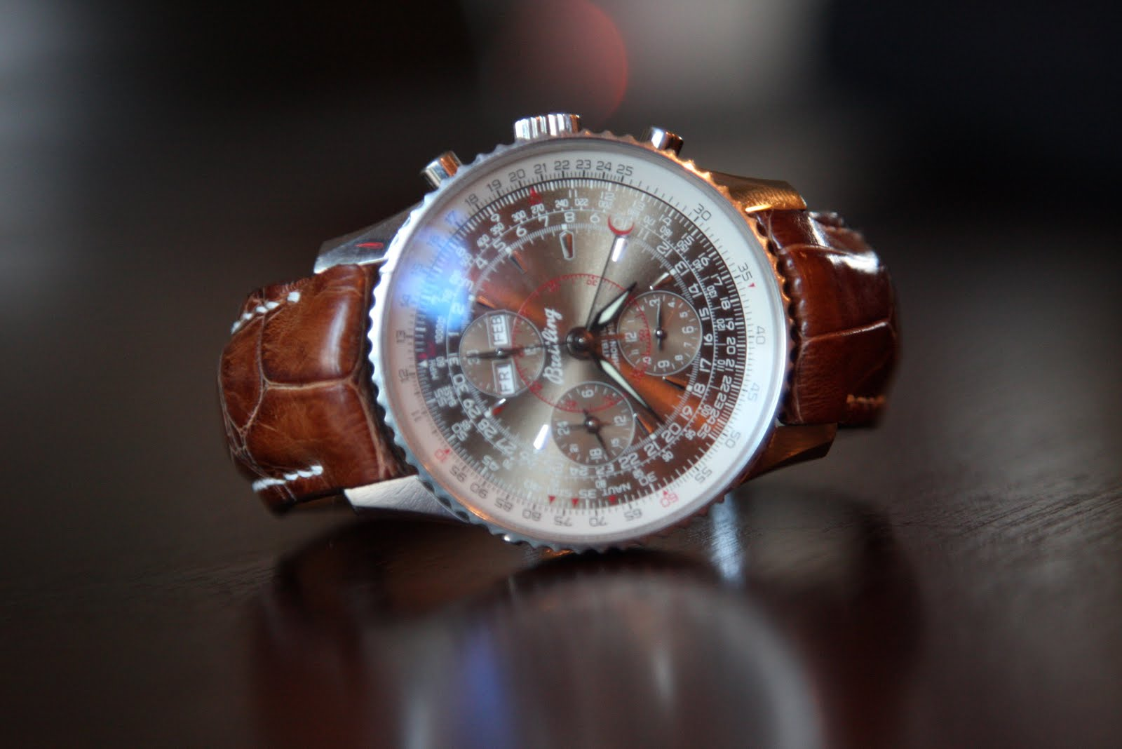 Ian's Breitling Montbrillant Navitimer on Vintage Cognac Alligator