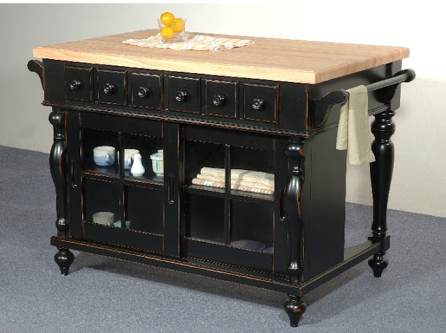 distressed furniture grade kitchen island solid wood top