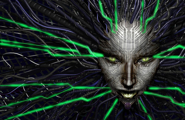 An artist's representation of SHODAN, the supercomputer from System Shock 2.