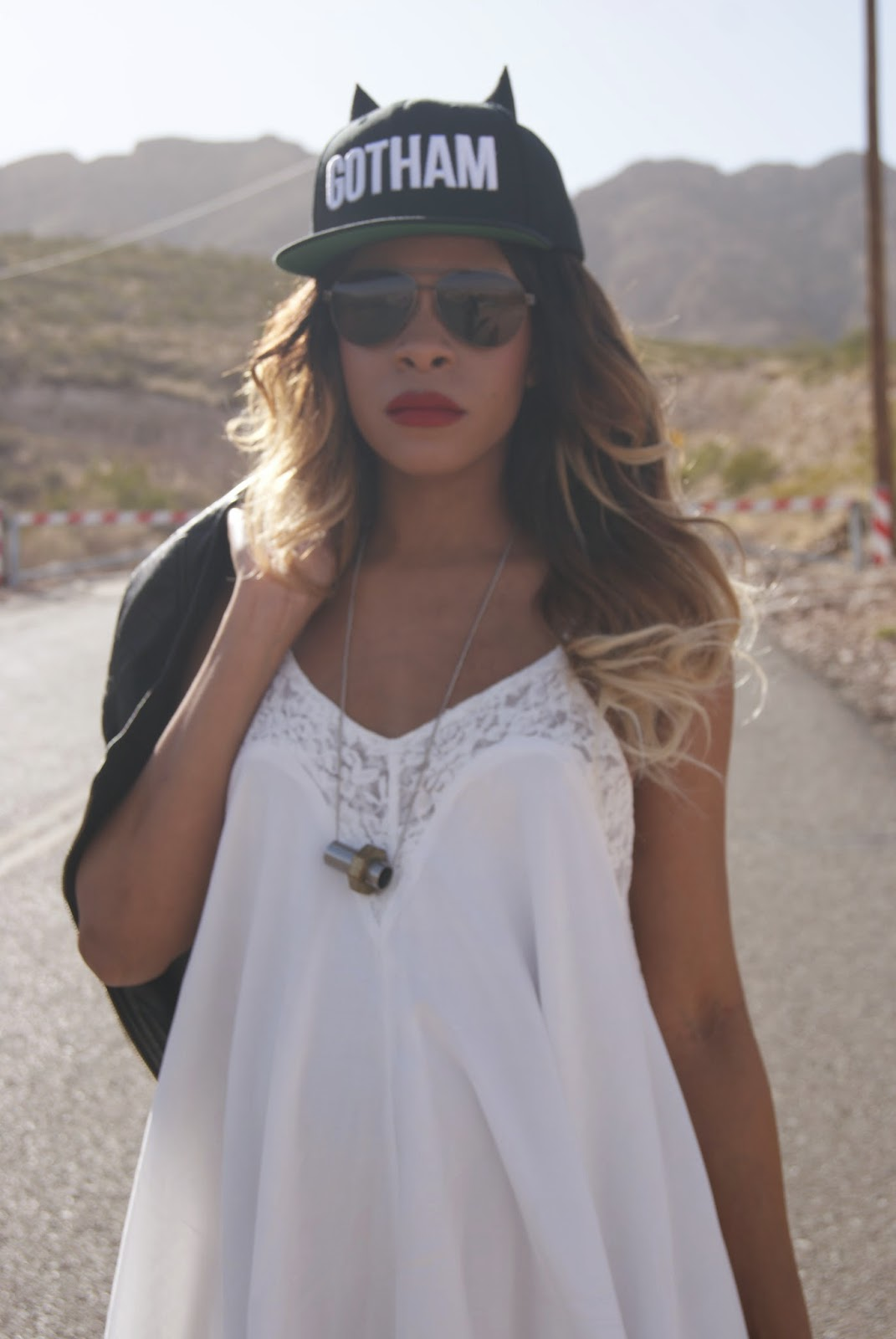 snapback hat, bunny ear hat, red lips, allthingsslim, slip dress,