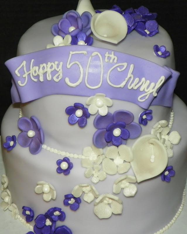 Plumeria Cake Studio Purple Flowers Birthday Cake