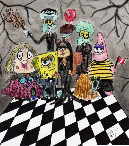 Sponge-Addams Family por Spongefifi