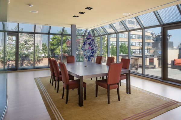 Photo of modern dining room interiors in 66 Leonard Street penthouse