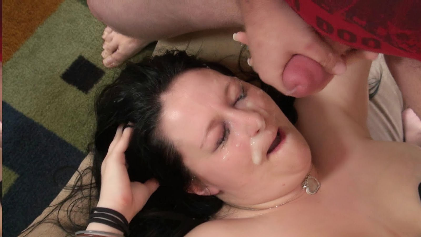 image Bitch fucked hard showered with cumshots on her bobbies