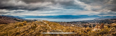 Extremely wide angle panorama image showing Lake Okanagan and more of the Okanagan Valley overlooking Kelowna, by Chris Gardiner Photography