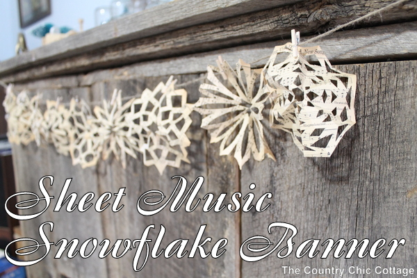 Sheet Music Snowflake Banner