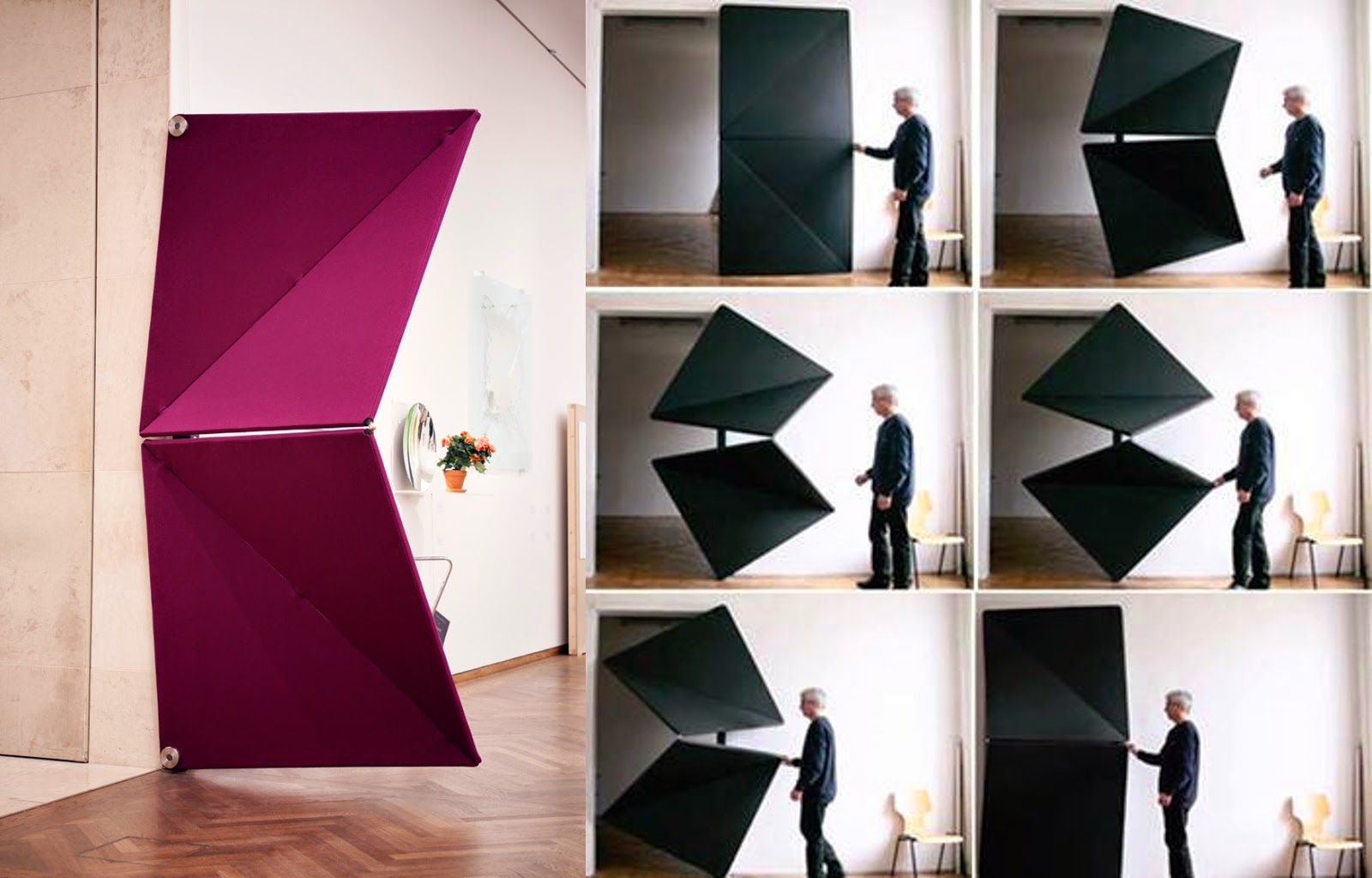 The Evolution Door 2013; is a set of squares geometrically comprised of two triangles each. It is a trackless door that moves sideways ... & Evolving doors by Klemens Torggler! | Design in Living Spaces pezcame.com