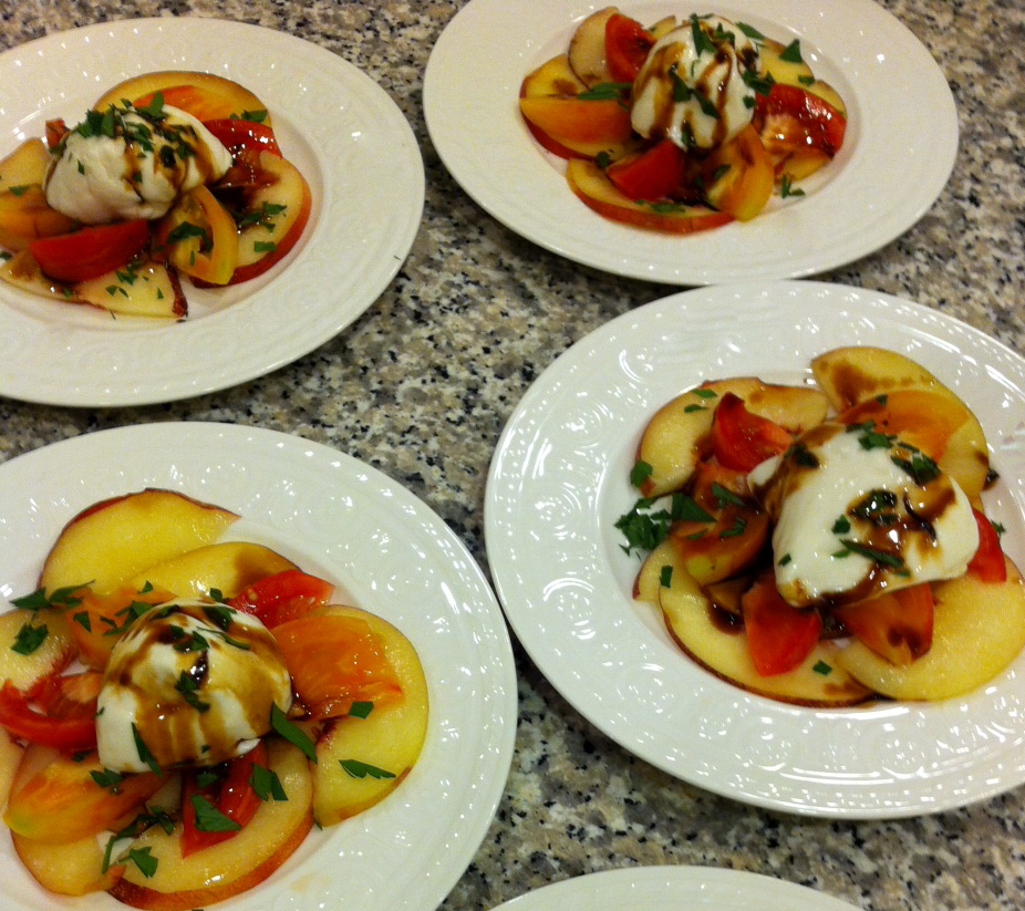 piedmont salad: summer peach & heirloom tomatoes with burrata ...