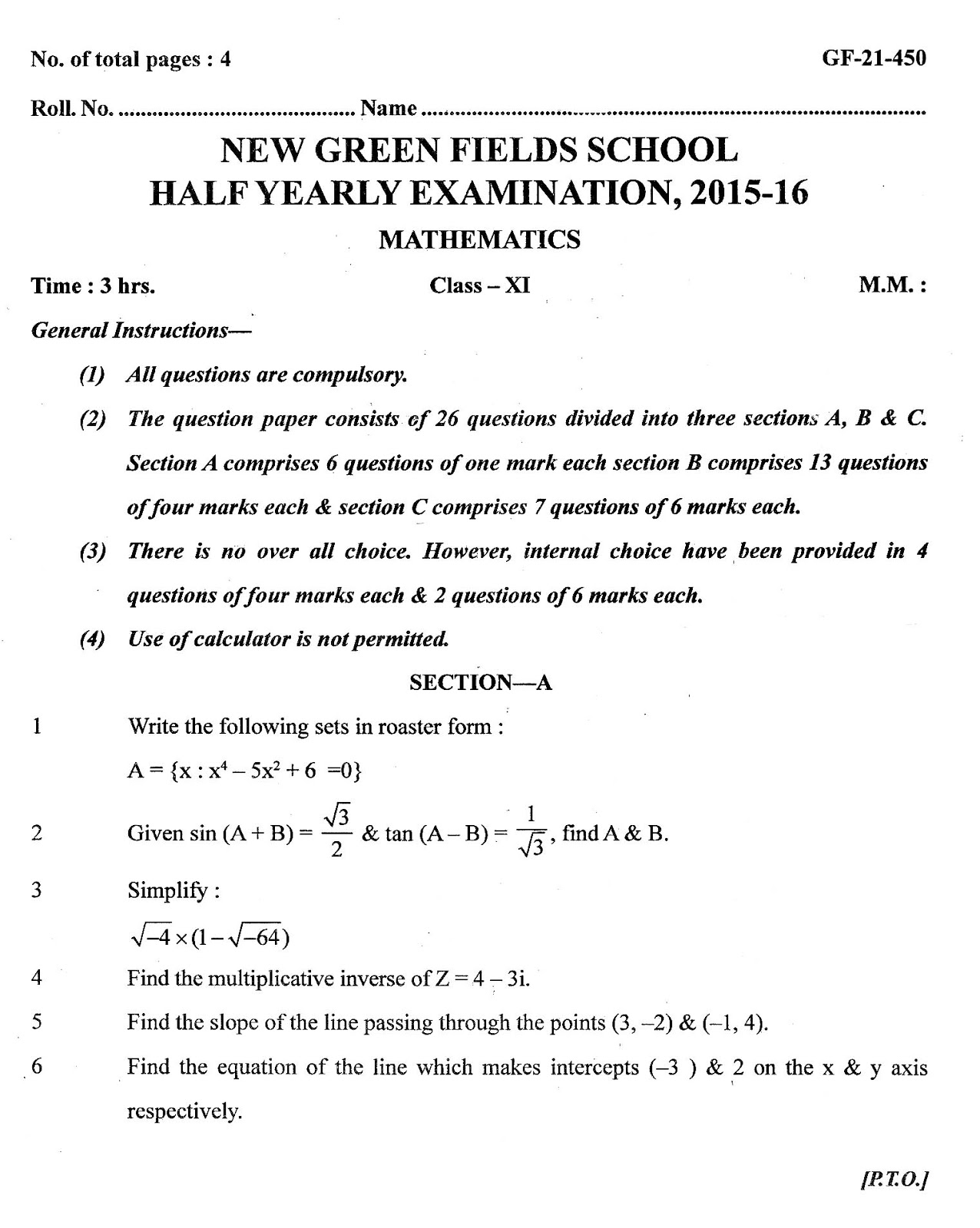 Maths4all: Class XI Mathematics NEW GREEN FIELDS SCHOOL Half yearly ...