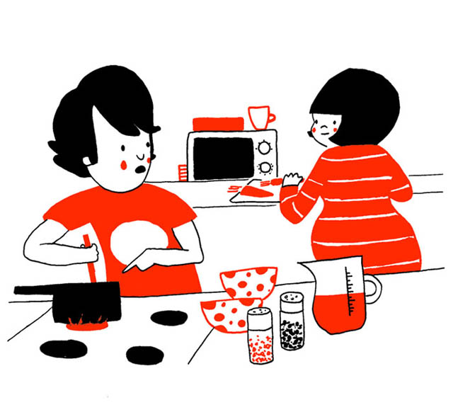 Heartwarming Illustrations Show That True Love Is In The Little Everyday Things - Cooking together often becomes the most challenging and the most fun task
